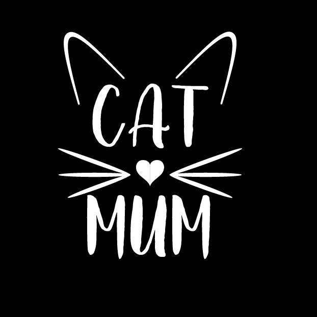 BUMPER STICKER: CAT MUM (WITH WHISKERS & EARS)