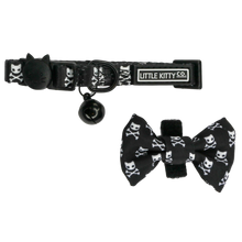 Cat Collar with Bow Tie and Black Bell Baddest of them All Black Cat Skulls