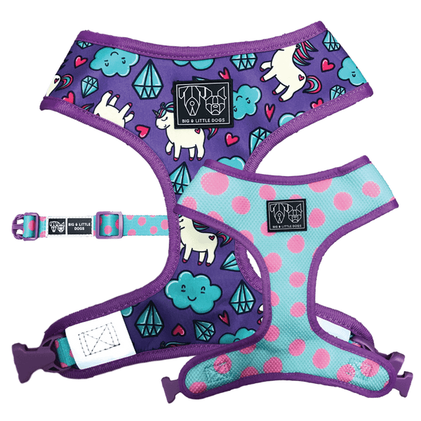 Reversible Dog Harness for Big and Small Dogs Cloudland Unicorns and Polka Dots