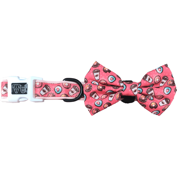 Dog Collar and Bowtie for Big and Small Dogs Coffee & Donut Dates