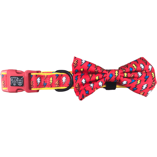 Dog Collar and Bowtie for Big and Small Dogs Lightning Bolts