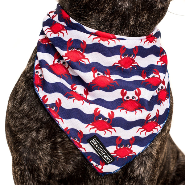 Dog Cooling Neckerchief Bandana Under The Sea Crabs Wavy Water