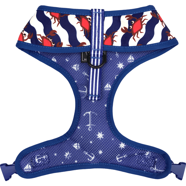 Crabby and Nautical Reversible Dog Harness Front Neck View