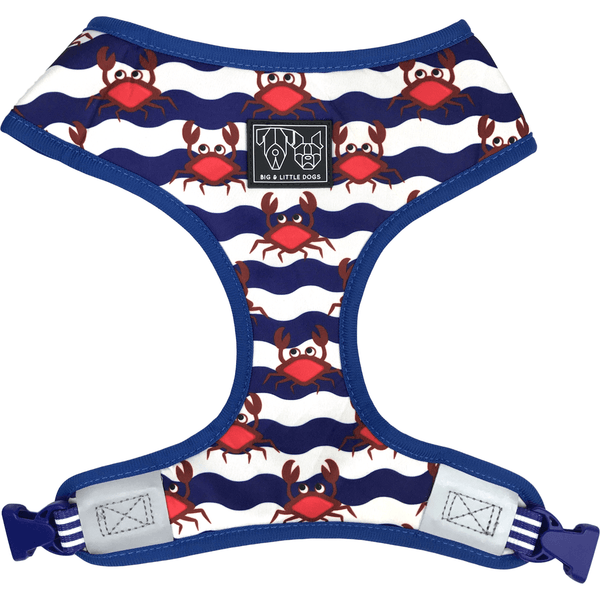 Crabby and Nautical Reversible Dog Harness Front View
