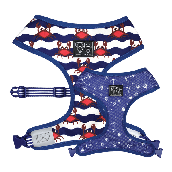 Crabby and Nautical Reversible Dog Harness Front and Reverse Views