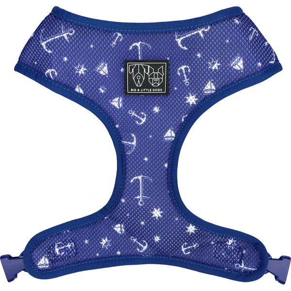 Crabby and Nautical Reversible Dog Harness Reverse View