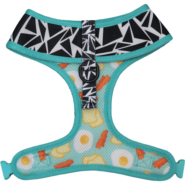 Cracked Up and Bacon and Eggs Reversible Dog Harness Front Neck View
