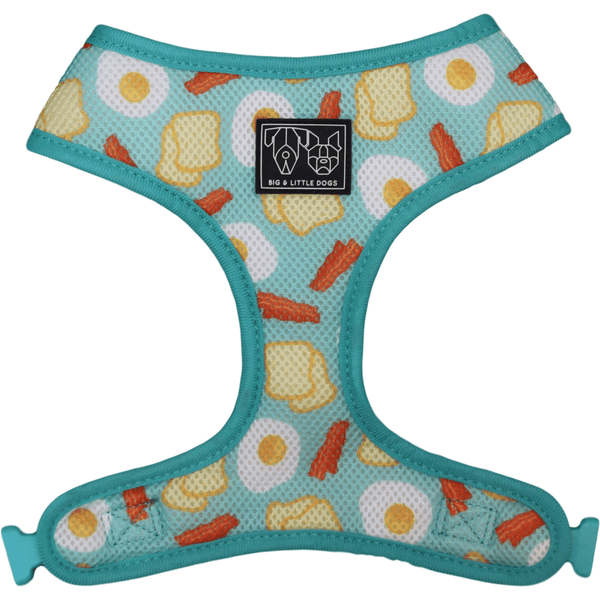 Cracked Up and Bacon and Eggs Reversible Dog Harness Reverse View