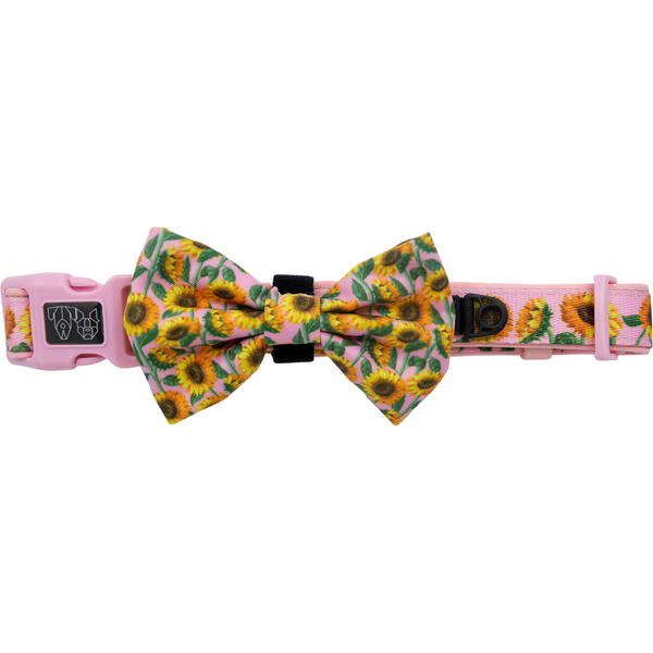Comfort Dog Collar with Bow Tie You Are My Sunshine Sunflowers