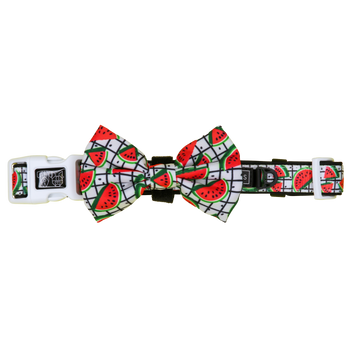 Dog Collar and Bow Tie with Neoprene Lining A Slice of Summer Watermelons