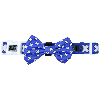 Dog Collar and Bow Tie Blue Xs