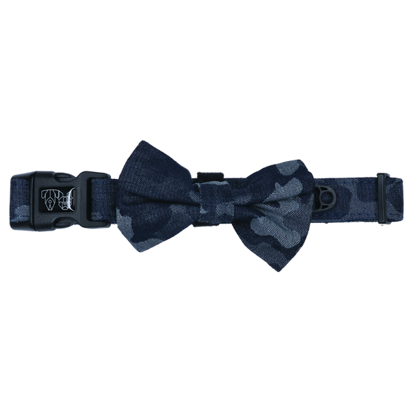 Dog Collar and Bow Tie Denim Camo Fabric