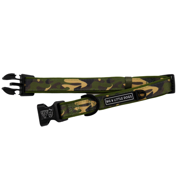 Dog Collar and Bowtie for Big and Small Dogs Green Camo