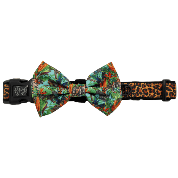 King of the Jungle Leopard Comfort Dog Collar with Bow Tie