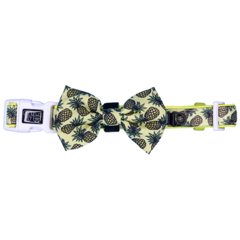 Dog Collar and Bow Tie with Neoprene Lining Lookin' Pine Pineappless