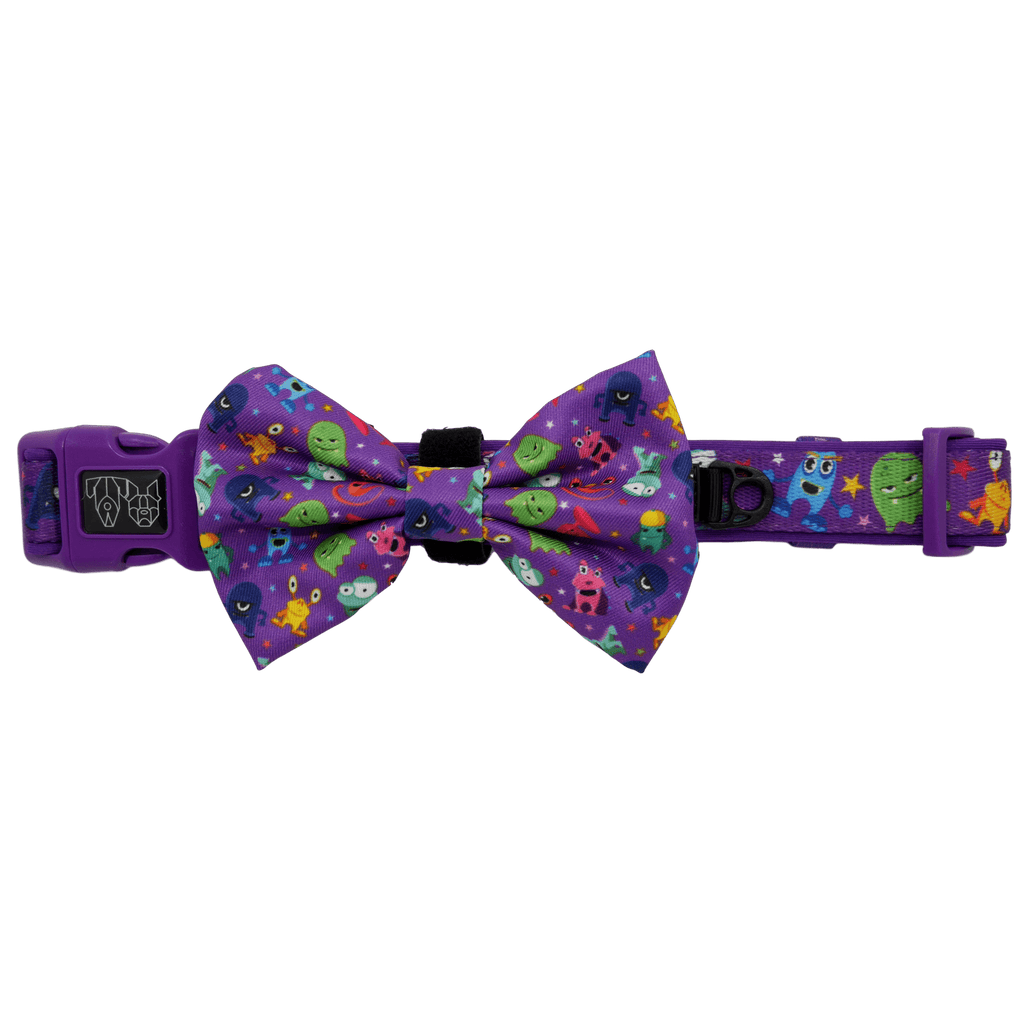 Dog Collar and Bowtie for Big and Small Dogs Monster Mash Cartoon Monsters
