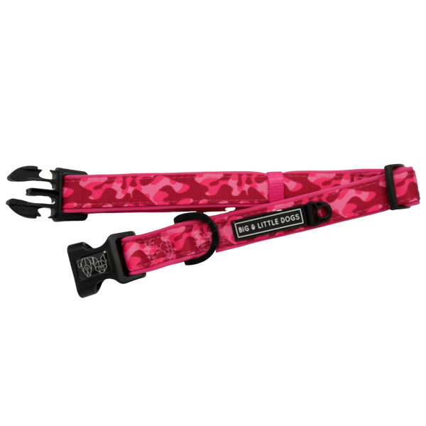 Dog Collar and Bowtie for Big and Small Dogs Pink Camo