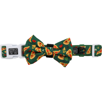 Dog Collar and Bow Tie Pupperoni Pizza Green Pizza Slices Tomato Olives Capsicum