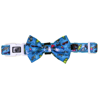 Dog Collar and Bow Tie with Neoprene Lining Surf's Up Surfing