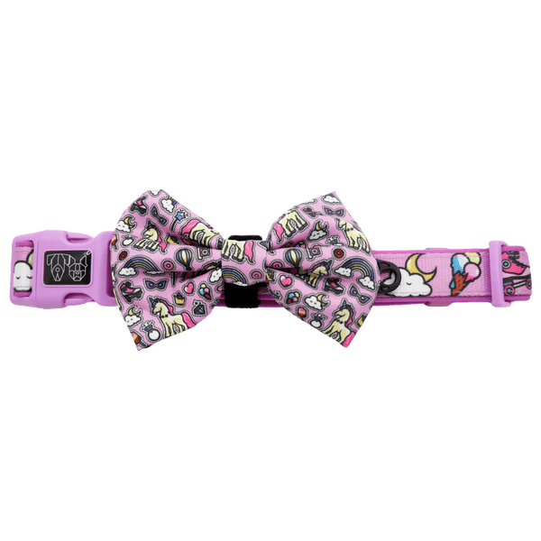 One of a Kind Unicorns and Rainbows Comfort Dog Collar with Bow Tie