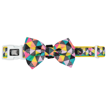 Dog Collar and Bow Tie All Sorts Colourful Geometric Pattern