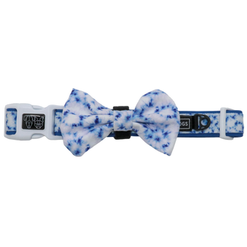 Dog Comfort Collar and Bow Tie Tie Dye Blue