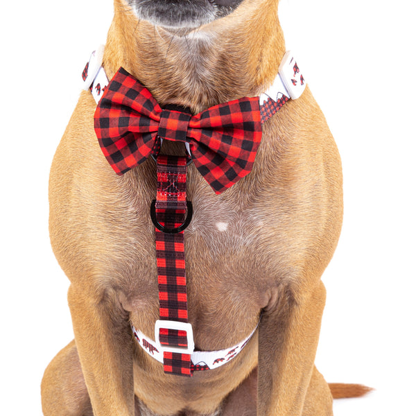 Dog Strap Harness with Front Clip Red and Black Plaid