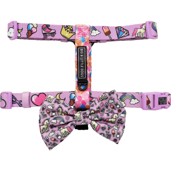 One of a Kind Unicorns and Rainbows and Watercolour Strap Dog Harness with Bow Tie
