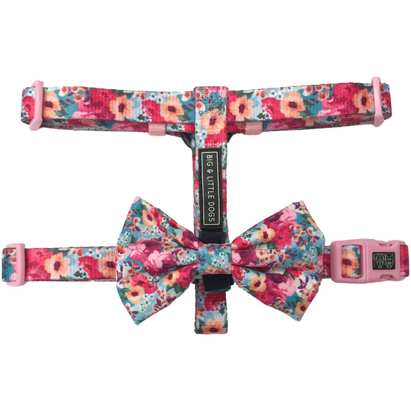 Dog Strap Harness with Bow Tie for Big and Small Dogs Floral Affair