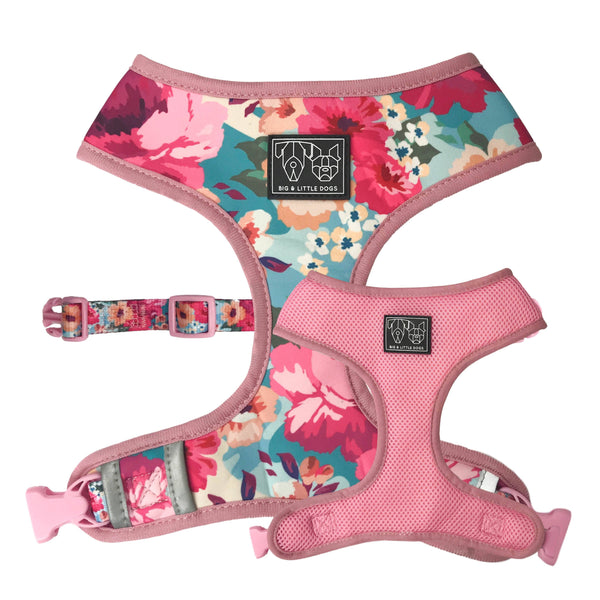 Reversible Dog Harness for Big and Small Dogs Floral Affair