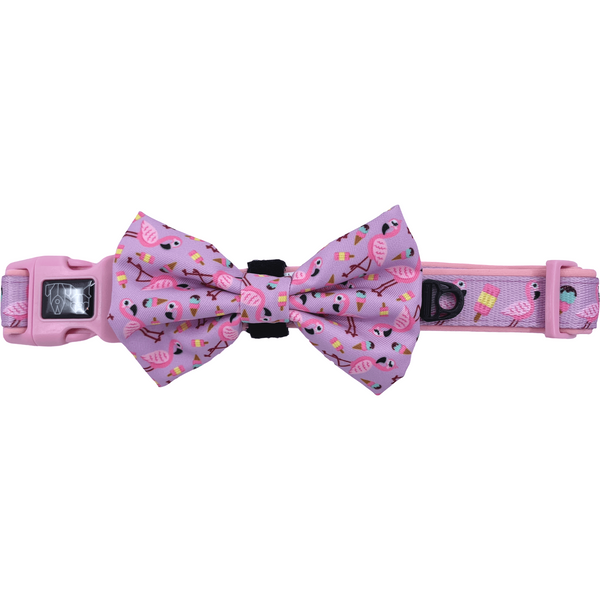 For Flocks Sake Flamingo Galaxy Comfort Dog Collar with Detachable Bow Tie