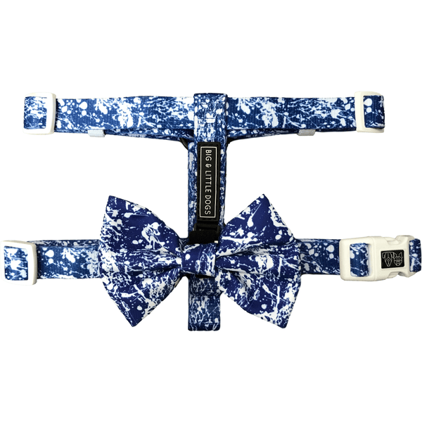 Freestyle Blue Splatter Dog Strap Harness with Bow Tie