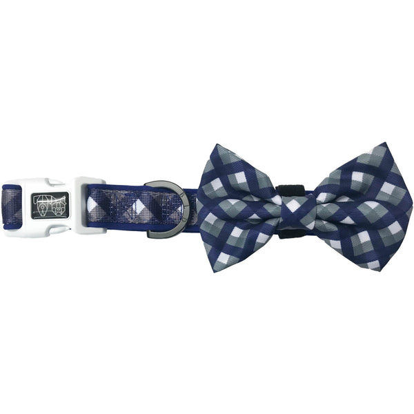 Dog Collar and Bowtie for Big and Small Dogs Grandpa Plaid Checks