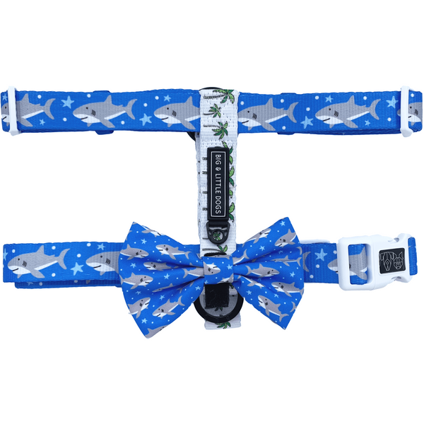 Shark Attack Palms Dog Strap Harness with Bow Tie