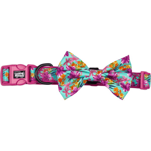 Hawaiian Breeze Pink Floral Dog Collar and Bowtie Set
