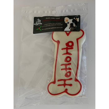 DOG TREATS Huds and Toke Large Bone Cookie | Christmas HoHo | Red (Yoghurt Frosted)