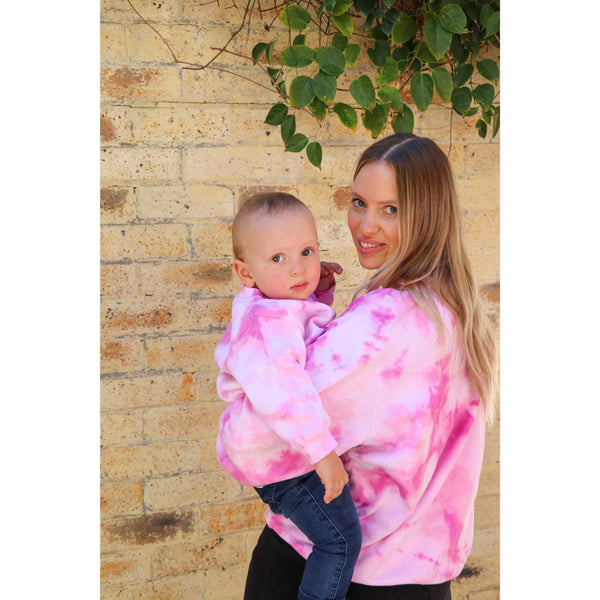 PARENTS & KIDS PULL OVER: Pink Tie Dye {PRE-ORDER)