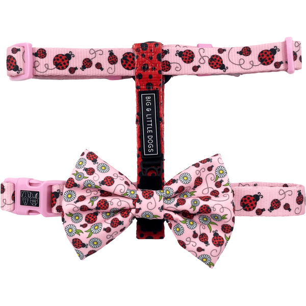 Ladybug Dog Strap Harness with Bow Tie