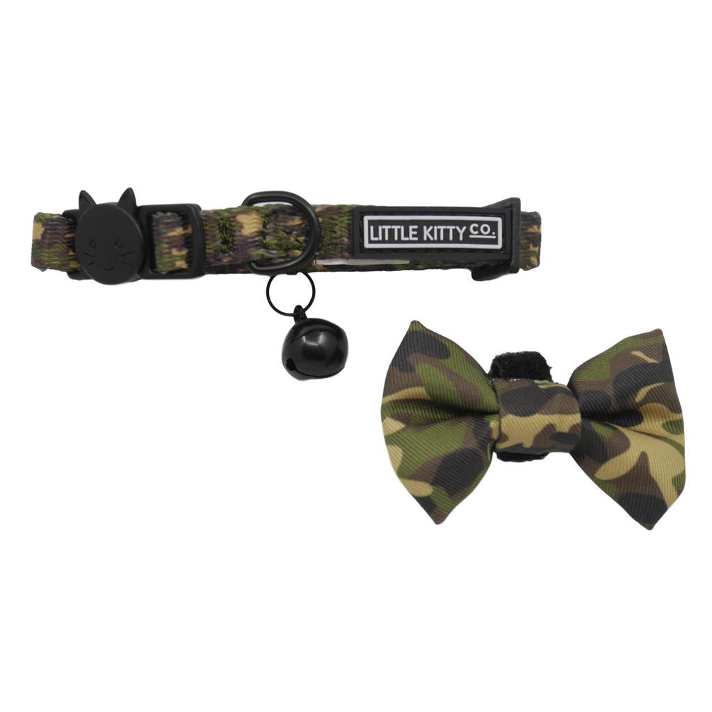 CAT COLLAR & BOW TIE: Cool Cat Camo (NEW!)