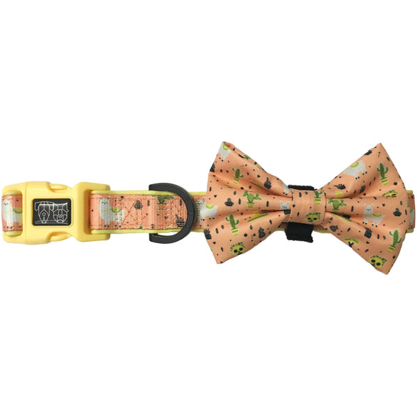 Dog Collar and Bowtie for Big and Small Dogs MexiCali Mexican Llamas