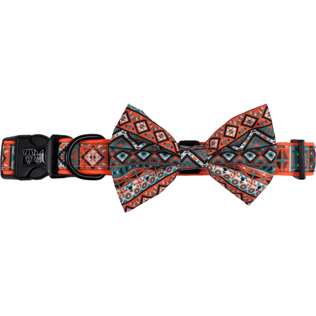 Montezuma Orange Aztec Dog Collar and Bowtie Set