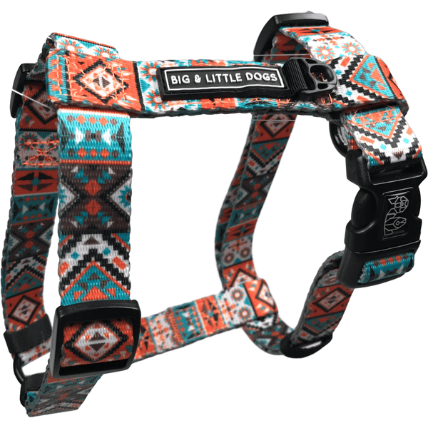 Montezuma Orange Aztec Dog Strap Harness