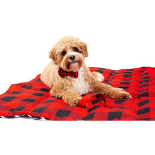 On The Go Pet Mat Red and Black Plaid Black and White Houndstooth