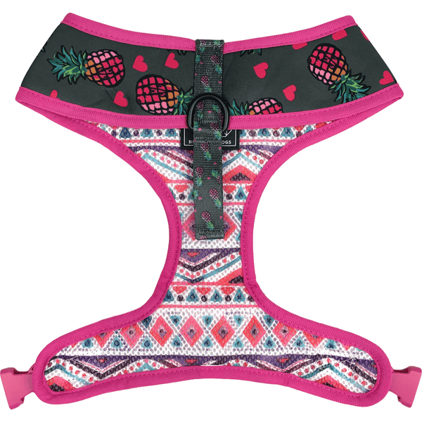 Pineapple and Pink Aztec Reversible Dog Harness Front Neck View