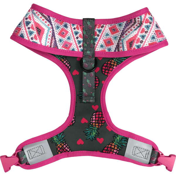 Pineapple and Pink Aztec Reversible Dog Harness Reverse Neck View
