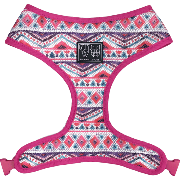 Pineapple and Pink Aztec Reversible Dog Harness Reverse View