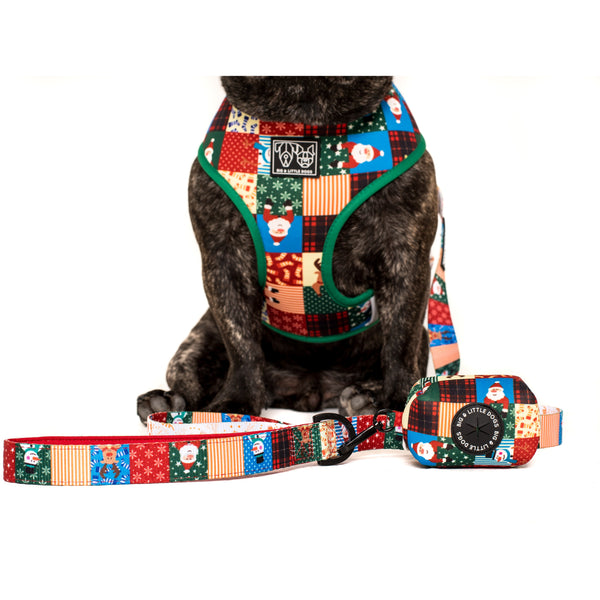 Neoprene Dog Poop Bag Holder Silly Season Christmas Santa Quilt