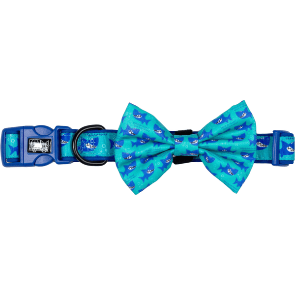 Predator Blue Shark Dog Collar and Bowtie Set