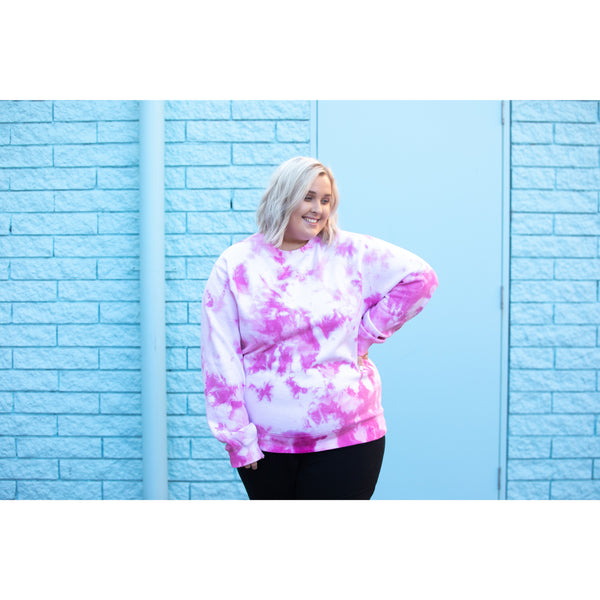 Pull Over Sweater Tie Dye Pink