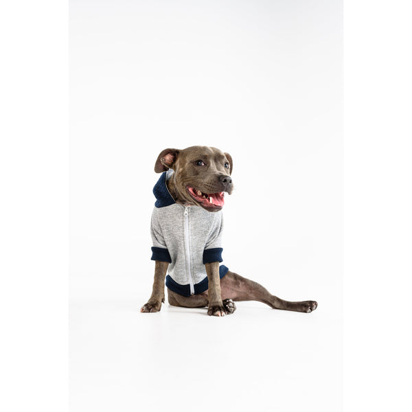 Dog Hoody Jumper for Big and Little Dogs Quilted Navy Blue and Grey